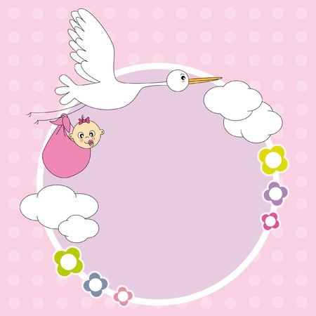 Baby girl arrival announcement. stork with a baby. Stock Vector - 9549853