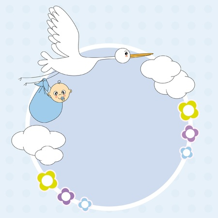 Baby boy arrival announcement. stork with a baby. Stock Vector - 9549852
