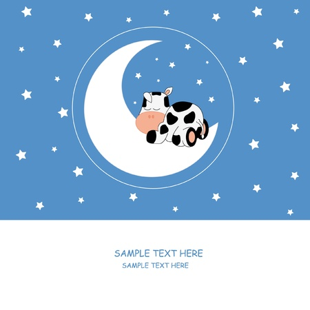 cows: Baby boy arrival announcement card. Cow sleeping on the moon Illustration