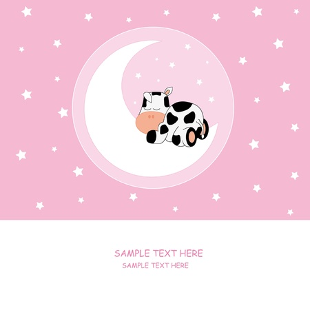 Baby girl arrival announcement card. Cow sleeping on the moon Vector