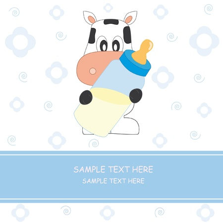 Baby boy arrival announcement card. cow with baby bottle Vector