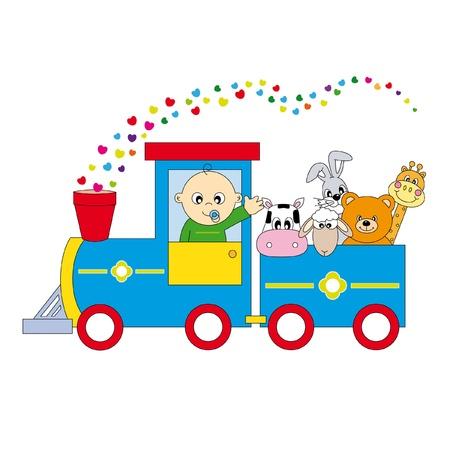 railway: childrens train animals Illustration