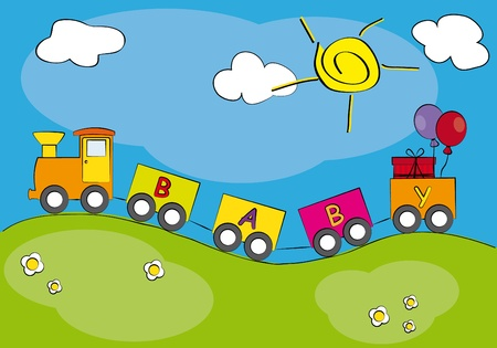 Child card. Spring landscape with a train of colors. Vector