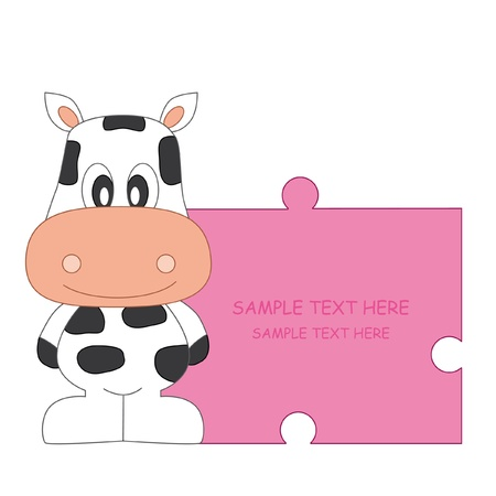 baby girl arrival: Baby girl arrival announcement. Cow Illustration