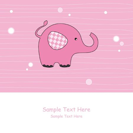 pink elephant: Baby girl arrival announcement. Pink elephant Illustration