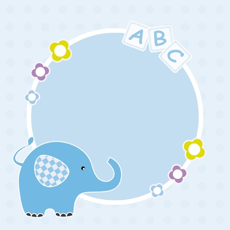 Baby boy arrival announcement. Space for text or photo. Frame elephant Vector