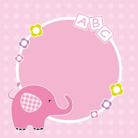 Baby girl arrival announcement. Space for text or photo. Frame elephant Vector