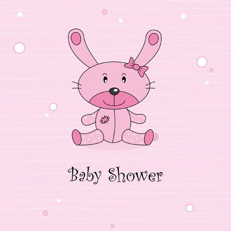 stuffed animals: Baby girl arrival announcement card. Stuffed rabbit