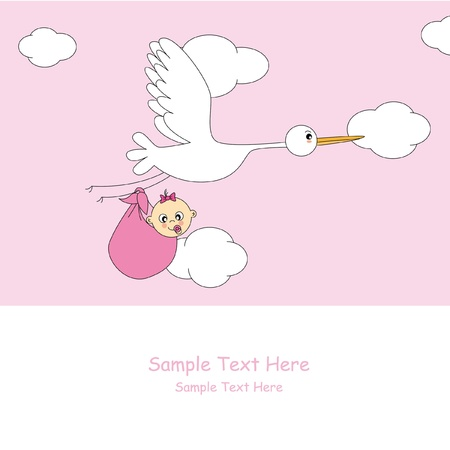 Baby girl arrival announcement card Stock Vector - 9665161