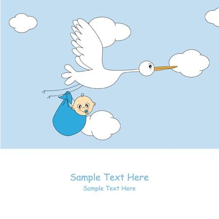 animalitos tiernos: Tarjeta de anuncio de llegada de Baby boy Vectores