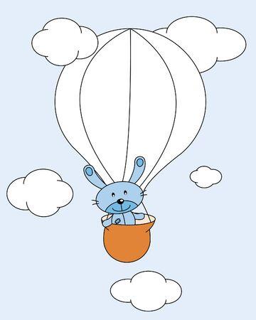 Stuffed rabbit balloon flying Stock Vector - 9665442
