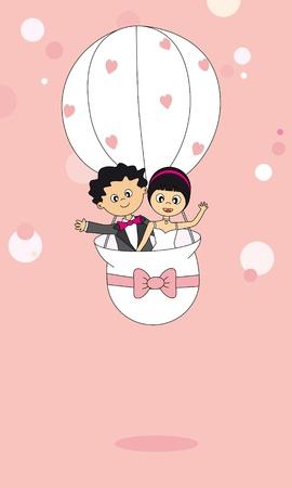 flying balloon: Wedding card. Honeymoon couples. Flying Balloon