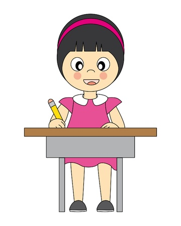 girl in school. Writing in the table  Vector
