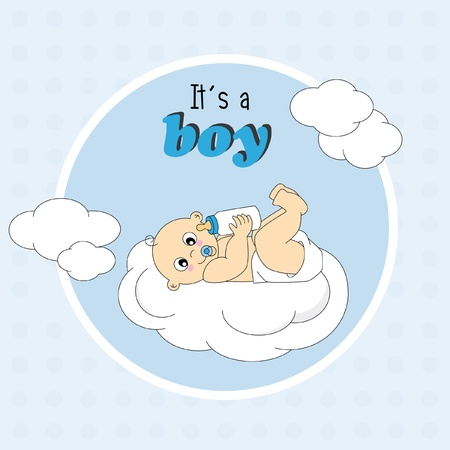 Baby boy arrival announcement card.baby on a cloud Vector