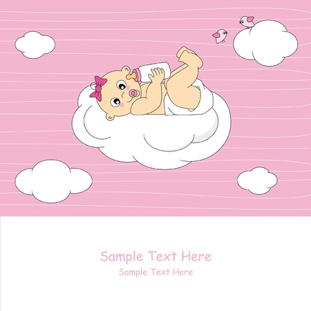Baby girl arrival announcement card. baby on a cloud Vector