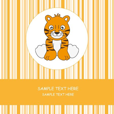 Greeting card. Tiger  Vector