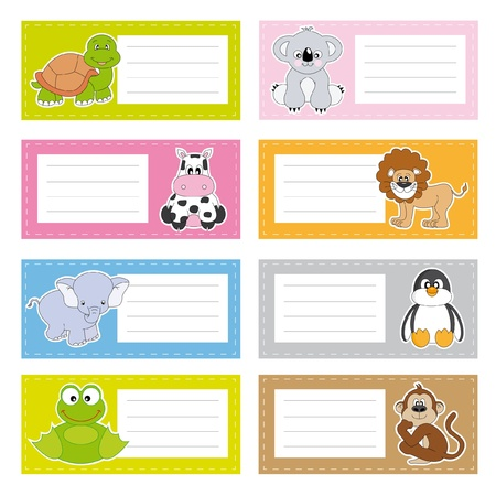 Fun animal stickers Vector