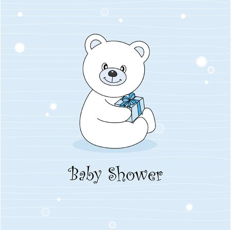 Baby boy arrival announcement. Teddy bear Vector