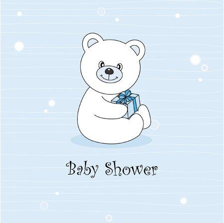 Baby boy arrival announcement. Teddy bear Vector