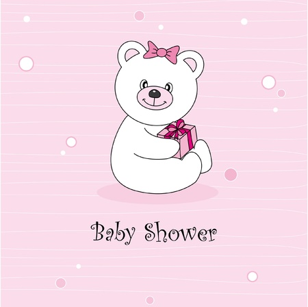 Baby girl arrival announcement. Teddy bear Vector