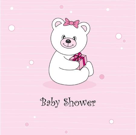 Baby girl arrival announcement. Teddy bear Vector