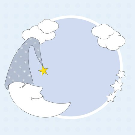 Baby boy arrival announcement. Framework with a moon  Vector