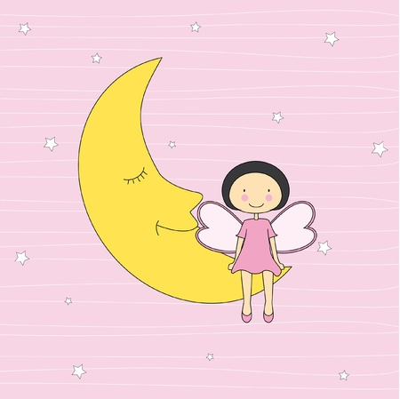 moon angels: Baby card. Girl sitting on a moon  Illustration