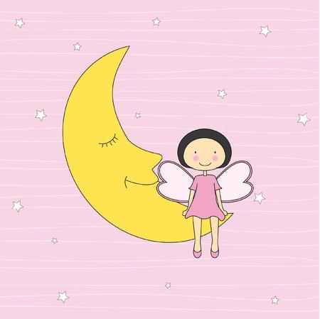 angel cartoon: Baby card. Girl sitting on a moon  Illustration