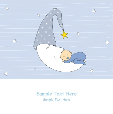 baby girl arrival: Baby girl arrival announcement card. baby sleeping on the moon