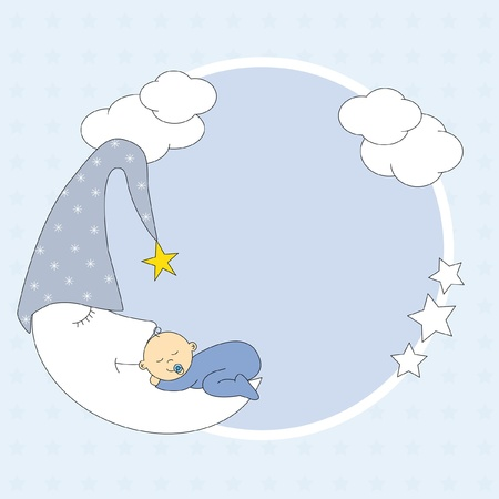 Baby boy arrival announcement card. photo frame. baby sleeping on the moon  Vector