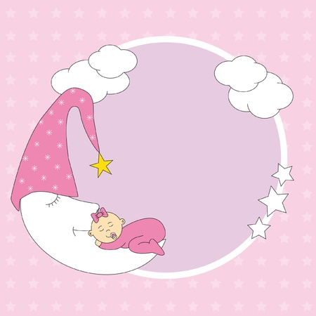 Baby girl arrival announcement card. photo frame. baby sleeping on the moon  Vector