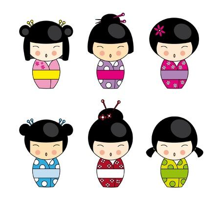 kimono: Conjunto japon�s Kokeshi dolls, vector Vectores