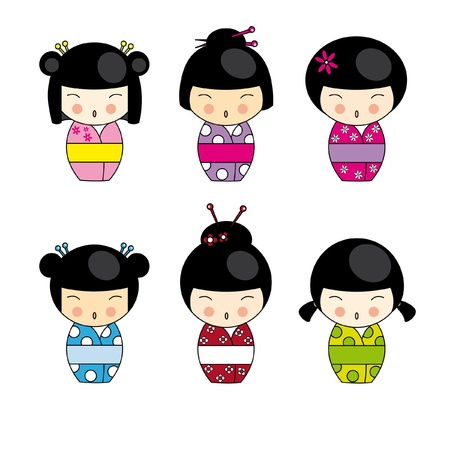 japan culture: Set Kokeshi Japanese dolls, vector