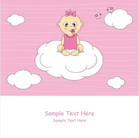 baby girl arrival: Baby girl arrival announcement card. Baby siting on a cloud
