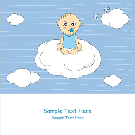 Baby boy arrival announcement card. Baby sitting on a cloud  Stock Vector - 10036800