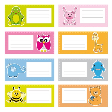 Back to school stickers with cute animals Vector