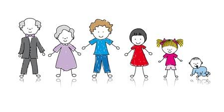 abuelos: Dibujo del niño de la familia feliz
