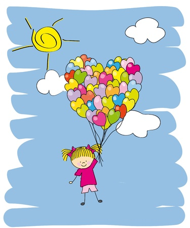 Baby girl flying in a balloon. Invitation Vector