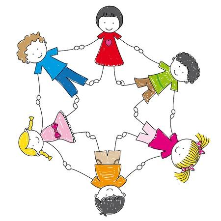 niños de ilustración tomados de la mano en un círculo Vectores