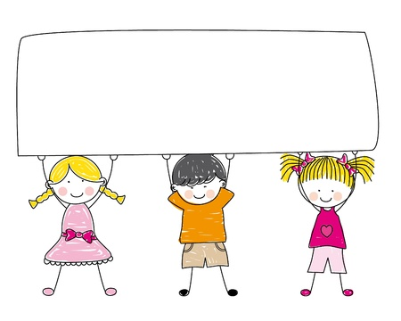 A Small Group of Kids Holding a Giant Blank Board - Vector Stock Vector - 10521944