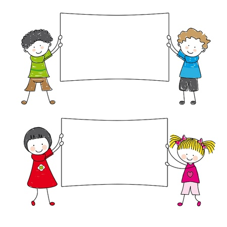 pupil: Happy kids standing by white blanks  Illustration