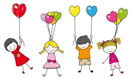 happy children playing with balloons Vector