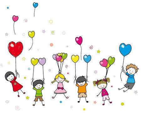 dessin enfants: carte d'anniversaire. des enfants jouant avec des ballons Illustration