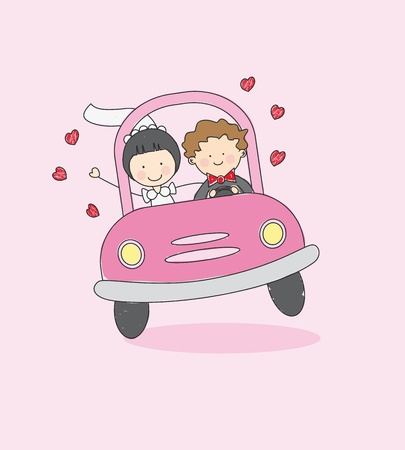 just married: Wedding Card. Newlywed traveling by car to their honeymoon Illustration