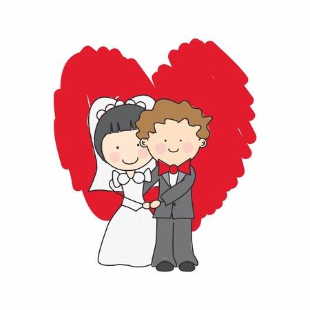 Trouwkaart. Net getrouwd knuffelen Vector Illustratie