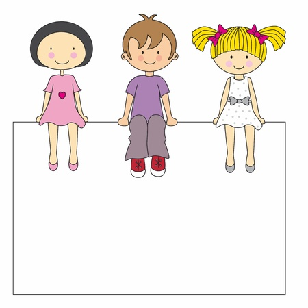 boy friend: Small group of children sitting on a sign. vector