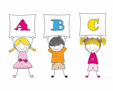 Group of children showing the letters of the alphabet Vector