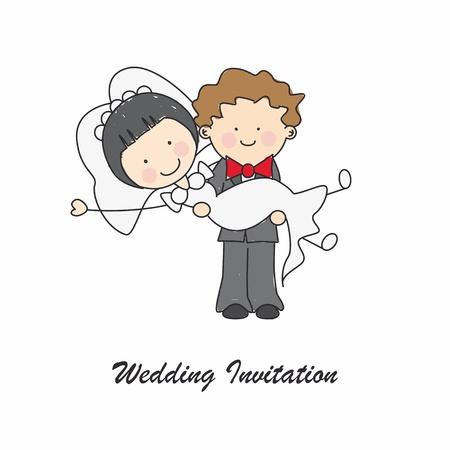 recien casados: Tarjeta de invitación de boda Vectores