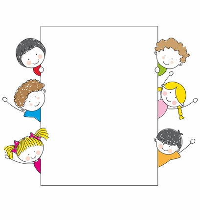 Cute cartoon kids frame Stock Vector - 10749094