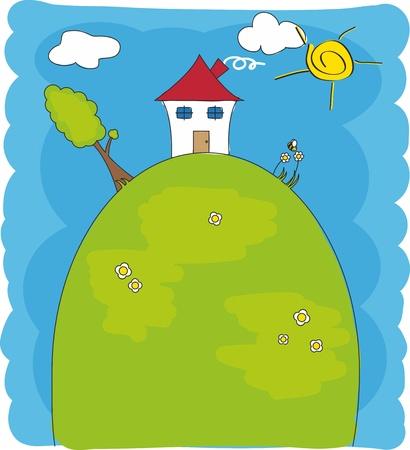 bambini disegno: Bambini disegno. Casa su di una montagna Vettoriali